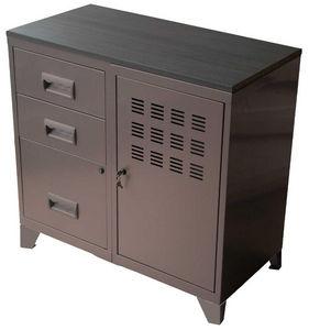PIERRE HENRY - armoire en métal taupe 1 porte 3 tiroirs 80x40x75, - Büroschrank