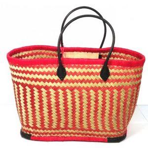 Aubry-Gaspard - cabas en jonc et cuir rouge - Einkaufstasche