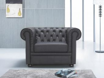 BELIANI - fauteuil en cuir chesterfield noir - Chesterfield Sessel