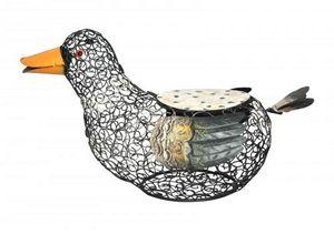 Demeure et Jardin - tabouret canard fer forgé et mosaique - Tierskulptur