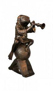 Demeure et Jardin - grenouille musicien - Tierskulptur