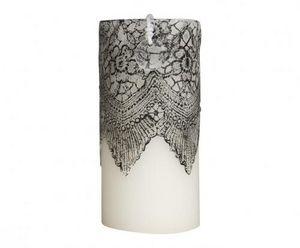 Demeure et Jardin - bougie colonne blanche dentelle noire - Rundkerze