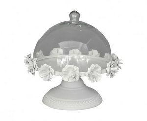 Demeure et Jardin - cloche à gateaux sur pied en tôle - Kuchen Glaskuppel