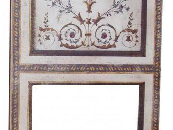 PROVENCE ET FILS - trumeau bouquet / toile beige veilli avec motifs f - Trumeauspiegel