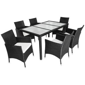 WHITE LABEL - salon de jardin 6 chaises + table noir - Garten Esszimmer