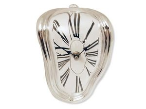 WHITE LABEL - horloge argentée effet fondant deco maison design  - Tischuhr