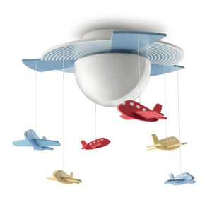 Philips - avigo - plafonnier hélice bleu et avions suspendus - Kinder Hängelampe