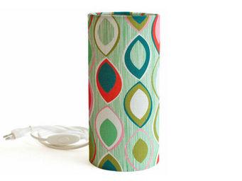 MADEMOISELLE DIMANCHE - junon - lampe à poser tube tissu motifs multicolor - Tischlampen