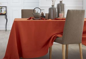 BLANC CERISE - delices de lin orange  - Rechteckige Tischdecke