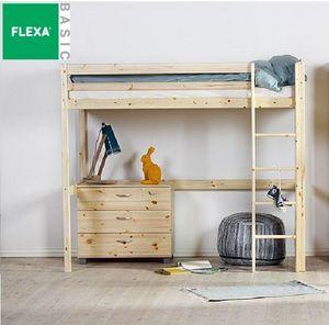 Flexa - lit mezzanine flexa en pin vernis naturel couchage - Hochbett