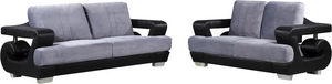 WHITE LABEL - ensemble canapé en tissu ultra design 3+2 gris et  - Sitzgruppe