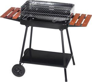 Dalper - barbecue sur roulettes avec tablettes bois - Holzkohlegrill