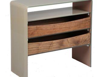 WHITE LABEL - console en verre et bois 1 niche, 2 tiroirs - talp - Konsolentisch