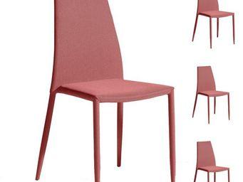 WHITE LABEL - quatuor de chaises rouge - alpia - l 39 x l 42 x h - Stuhl