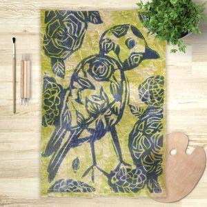 la Magie dans l'Image - foulard oiseau batik vert - Vierecktuch