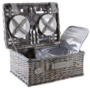 Aubry-Gaspard - panier pique-nique 4 couverts en osier gris - Picknickkorb