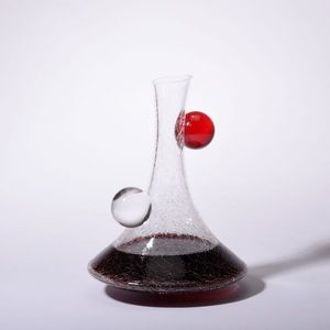 CERVA design - decanter red and clear - Karaffe