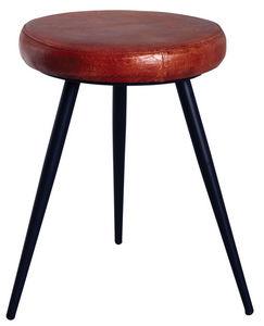 Aubry-Gaspard - tabouret rond en cuir et métal - Hocker