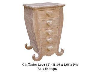 DECO PRIVE - chiffonnier en bois modèle coeur cérusé - Chiffonier (kommode)