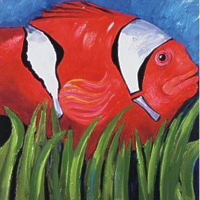 Alan Wallis Art - tomato clown fish - Ölgemelde Auf Leinwand Und Holztafel