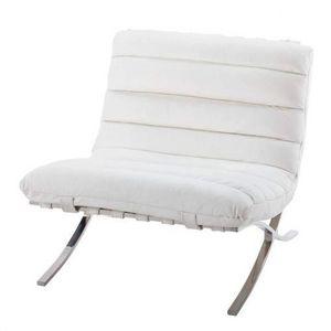 Maisons du monde - fauteuil cuir blanc beaubourg - Sessel