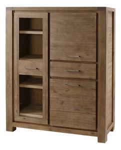 INWOOD - armoire 1 porte vitrée 2 portes 1 tiroir en acacia - Schrankmöbel