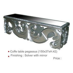 DECO PRIVE - table basse en bois argente sculpte - Rechteckiger Couchtisch