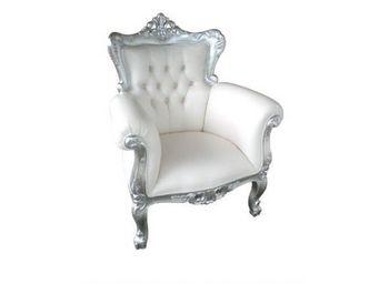 DECO PRIVE - fauteuil de luxe baroque blanc et argente aspect c - Sessel