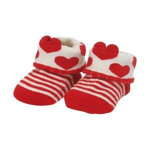 La Chaise Longue - chaussettes bébé coeurs rouge - Kinder Hausschuh