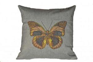 Demeure et Jardin - coussin papillon à paillettes - Kissen Quadratisch