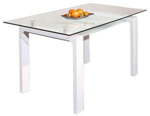 COMFORIUM - table de repas blanche laqué, métal chromé et verr - Rechteckiger Esstisch