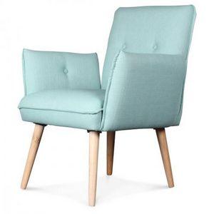 Demeure et Jardin - fauteuil design scandinave aérien pieds bois tissu - Sessel
