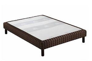 WHITE LABEL - sommier tapissier epeda enduit chocolat façon cuir - Fester Federkernbettenrost