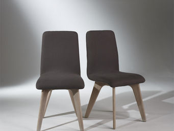 Robin des bois - chaises, chêne, lin gris, pieds fuselés, sixty - Stuhl