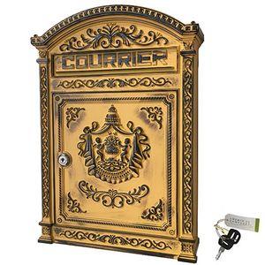 CHEMIN DE CAMPAGNE - boîte aux lettres jaune poste murale fonte alumini - Briefkasten