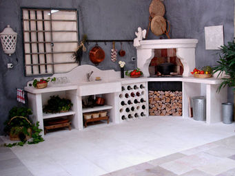 Atelier Alain Edouard Bidal - cuisine en pierre de lens sur mesure - Sommerküche