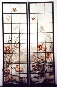 L'Antiquaire du Vitrail - iris et canard - Buntglasfenster