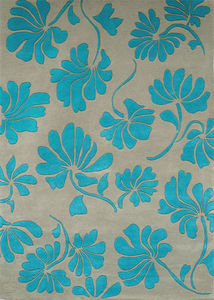 PASCALE GAUTHIER - fleurs turquoise - Moderner Teppich