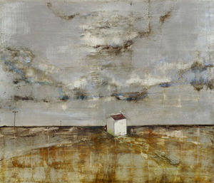 Ingo Fincke Gallery - the white house on the marsh - Ölgemelde Auf Leinwand Und Holztafel