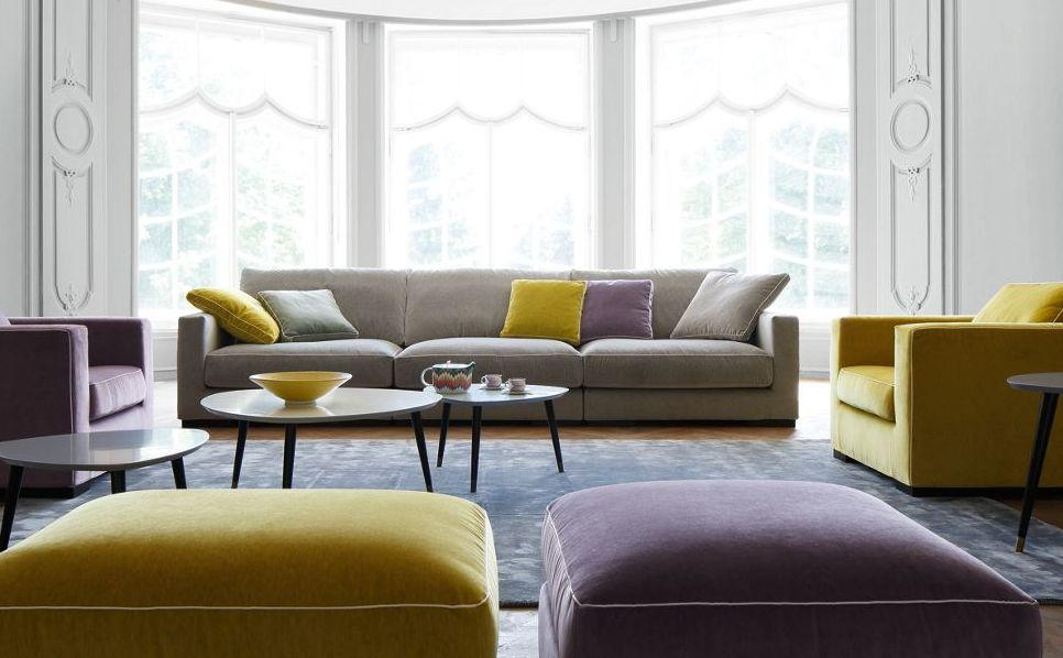 LONG ISLAND 2 - Variables Sofa - Beige - Samt - ROCHE BOBOIS