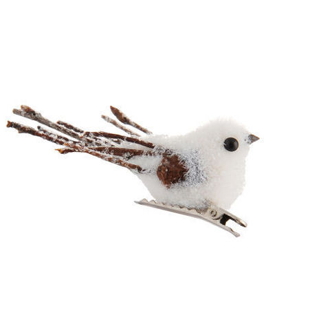 MAISONS DU MONDE - Weihnachtsschmuck-MAISONS DU MONDE-Pince oisillon blanc branche
