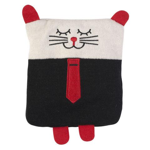 La Chaise Longue - Stofftier-La Chaise Longue-Bouillotte tricot chat boy en coton 20x18x2cm