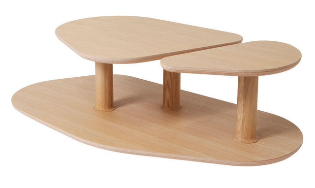 MARCEL BY - Originales Couchtisch-MARCEL BY-Table basse rounded en chêne naturel 119x61x35cm