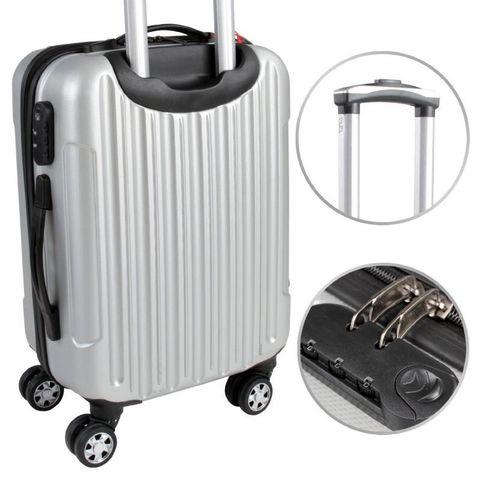 WHITE LABEL - Rollenkoffer-WHITE LABEL-Lot de 3 valises bagage rigide gris