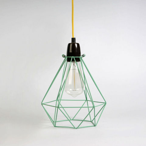 Filament Style - Deckenlampe Hängelampe-Filament Style-DIAMOND 1 - Suspension Menthe câble Jaune Ø18cm |