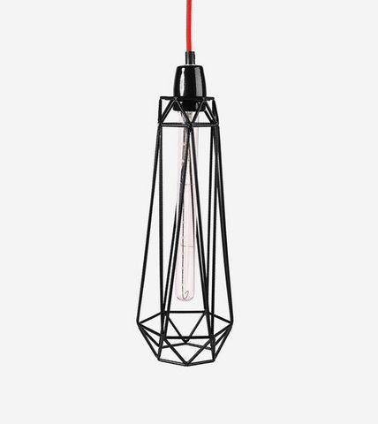 Filament Style - Deckenlampe Hängelampe-Filament Style-DIAMOND 2 - Suspension Noire câble Rouge Ø18cm | L