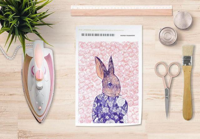 la Magie dans l'Image - Verlegung-la Magie dans l'Image-Papier transfert Mon Petit Lapin Fond Rose
