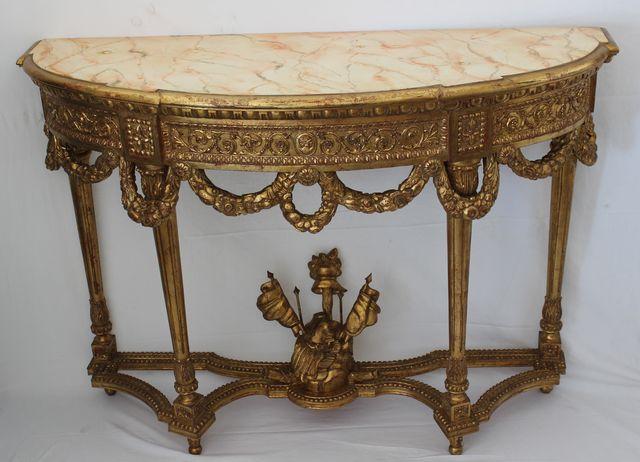 PASQUINI MARINO - Halbrunde Konsole-PASQUINI MARINO-Stile Luigi XVI