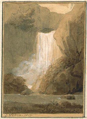 Galerie Emeric Hahn - Tuschezeichnung-Galerie Emeric Hahn-Paysage à la cascade