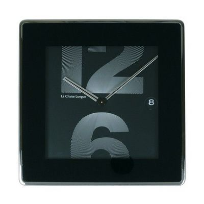 La Chaise Longue - Pendelwanduhr-La Chaise Longue-Horloge murale dateur 12&6 square noir